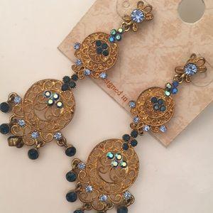 ✨BIV Crystal chandelier Earrings Gold & blue tone